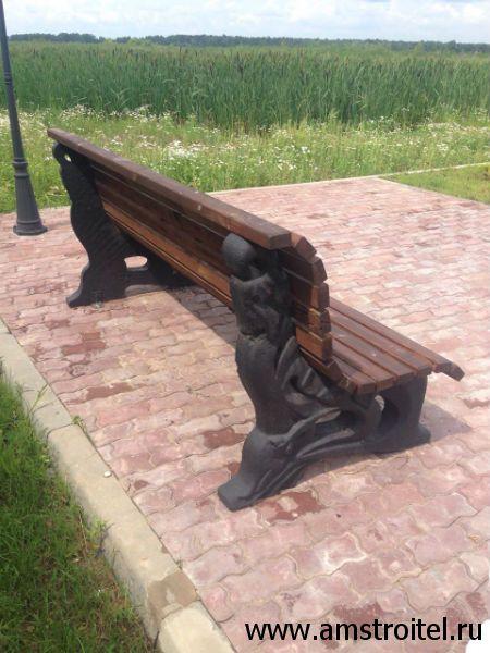 скамейки парковые бетонные со спинкой